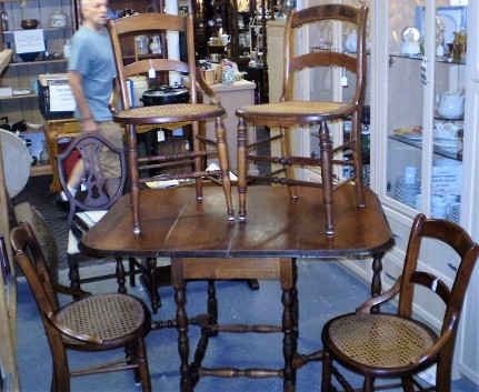 1920u0027s Chairs Are Solid Wood Construction With Cane Seats And Slat Backs.  Excellent Condition.